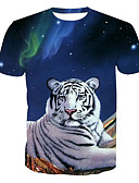 ieftine Maieu & Tricouri Bărbați-Bărbați Rotund Tricou De Bază - Animal Imprimeu / Manșon scurt / Vară