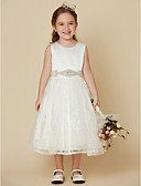 cheap Flower Girl Dresses-Princess Knee Length Flower Girl Dress - Lace / Satin Sleeveless Scoop Neck with Bow(s) / Sash / Ribbon by LAN TING BRIDE®