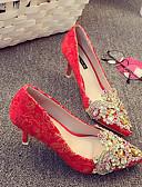 hesapli Kokteyl Elbiseleri-Kadın's Ayakkabı İpek Bahar Rahat Topuklular Stiletto Topuk Düğün / Dış mekan için Kırmzı