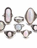 hesapli Paslanmaz Çelik-Kadın's Opal Geometrik Eklem Yüzükleri alaşım Bayan Vintage Bohem Boho Moda Yüzükler Mücevher Gümüş Uyumluluk Günlük Bar Ayarlanabilir 8pcs