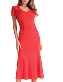 cheap Women's Dresses-TS - Dreamy Land Women's Slim Trumpet / Mermaid Dress - Solid Colored V Neck
