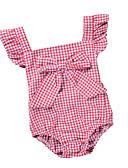 זול שמלות לתינוקות-חליפת גוף כותנה שרוול קצר גב חשוף / פפיון פסים / משובץ חגים פעיל / בסיסי בנות תִינוֹק