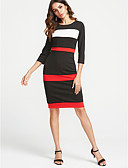 cheap Women's Dresses-Women's Plus Size Work Street chic Cotton Slim Sheath Dress - Striped High Rise / Fall / Winter