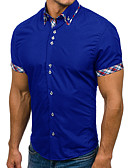 cheap Men's Shirts-Men's Basic Plus Size Slim Shirt - Color Block Patchwork / Short Sleeve