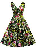 cheap Vintage Dresses-Women's Vintage / Street chic Swing Dress - Floral