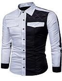 お買い得  メンズ・ベルト-男性用 シャツ ベーシック カラーブロック コットン グレー XL / 長袖 / 春