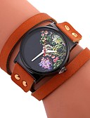 cheap Quartz Watches-Women's Bracelet Watch Chinese Casual Watch / Large Dial PU Band Flower / Fashion Black / White / Red / One Year
