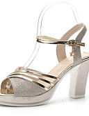 cheap Bras-Women's Shoes PU(Polyurethane) Summer Slingback / Ankle Strap Sandals Chunky Heel Gold / Silver