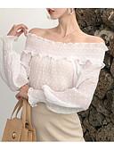 abordables Camisas para Mujer-Mujer Vintage Borla Camiseta Un Color Blanco y Negro