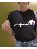 ieftine Tricou-Pentru femei Tricou Bumbac Vintage - Mată Mâneci Bufante, Franjuri Negru & Roșu / Primăvară