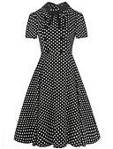 baratos Vestidos de Mulher-Mulheres Vintage Delgado Bainha / Rodado Vestido Poá / Listrado Colarinho de Camisa Médio / Verão
