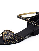 baratos Camisolas e Pijamas Femininos-Mulheres Sapatos de Dança Latina / Dança de Salão Cetim / Courino Salto Salto Robusto Não Personalizável Sapatos de Dança Black and Gold