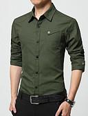 billige Herreskjorter-Skjorte Herre - Ensfarget Forretning Arbeid / Langermet