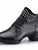 זול שמלות נשים-בגדי ריקוד נשים מגפי ריקוד עור נעלי ספורט עקב נמוך נעלי ריקוד שחור / חום / אדום כהה / הצגה / אימון