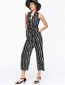 cheap Women's Jumpsuits & Rompers-Women's Work Jumpsuit - Stripe Wide Leg V Neck