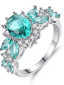 cheap Women's Lingerie-Women's Cubic Zirconia Cluster Engagement Ring - Sterling Silver Statement, Vintage, Elegant 6 / 7 / 8 / 9 Turquoise For Wedding Engagement Ceremony