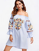 tanie Print Dresses-Damskie Bawełna Zmiana Sukienka Łódeczka Mini