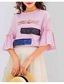 ieftine Tricou-Pentru femei De Pe Umăr Tricou Bloc Culoare