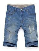 ieftine Maieu & Tricouri Bărbați-Bărbați Șic Stradă Bumbac Blugi / Pantaloni Scurți Pantaloni - Găurite, Mată