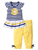 cheap Prom Dresses-Toddler Girls' Active Daily / Holiday Solid Colored / Striped Print Short Sleeve Regular Cotton / Acrylic Clothing Set Yellow / Cute