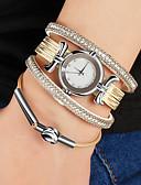 billige Armbåndsure-Dame Armbåndsur Quartz Afslappet Ur PU Bånd Analog Vintage Sølv / Guld - Guld Sølv