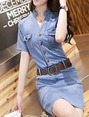 זול שמלות מקרית-צווארון V מעל הברך אחיד - שמלה נדן / ג'ינס רזה פשוט / סגנון רחוב עבודה בגדי ריקוד נשים