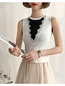 זול שמלות נשים-אחיד וינטאג' ליציאה כותנה, עליונית טנק - בגדי ריקוד נשים פרנזים שרוול נפוח לימון