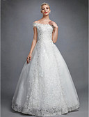 cheap Wedding Dresses-Ball Gown Off Shoulder Floor Length Lace Over Tulle Made-To-Measure Wedding Dresses with Beading / Sequin / Appliques by LAN TING BRIDE®