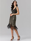 cheap Historical & Vintage Costumes-The Great Gatsby Vintage 1920s Sheath / Column V Neck Tea Length Polyester Sparkle & Shine Cocktail Party Dress with Sequin by TS Couture®
