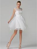 preiswerte Abendkleider-A-Linie Illusionsausschnitt Kurz / Mini Tüll / Spitze mit Blumenmuster See Through Abiball Kleid mit Schleife(n) / Mehrlagiger Rock durch TS Couture®