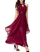 baratos Vestidos Longos-Mulheres Algodão Delgado Calças - Sólido Cintura Alta Vermelho / Festa / Longo / Decote V