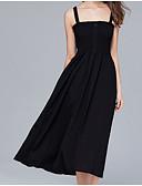 baratos Vestidos de Mulher-Mulheres Básico / Sofisticado Evasê Vestido - Frente Única, Sólido Médio