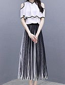 cheap Women's Two Piece Sets-Women's Sophisticated / Street chic Set - Striped, Pleated Skirt
