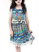 tanie Sukienki dla dziewczynek-Dzieci Dla dziewczynek Vintage Geometric Shape Bez rękawów Sukienka Niebieski