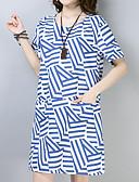 tanie Sukienki w rozmiarach plus-Damskie Vintage / Podstawowy Bawełna Luźna Spodnie - Prążki Nadruk Wysoka talia Niebieski