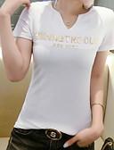 billige Overdele til damer-V-hals Dame - Ensfarvet / Bogstaver Bomuld T-shirt