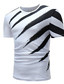 ieftine Maieu & Tricouri Bărbați-Bărbați Rotund Tricou Bumbac De Bază - Bloc Culoare Alb negru / Manșon scurt