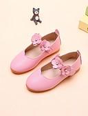 hesapli Gelin Annesi Elbiseleri-Genç Kız Ayakkabı PU Sonbahar Rahat / Çiçekçi Kız Ayakkabıları Düz Ayakkabılar için Beyaz / Siyah / Pembe