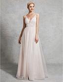 זול שמלות כלה-גזרת A צלילה עד הריצפה תחרה / סאטן / טול שמלות חתונה עם חרוזים על ידי LAN TING BRIDE®