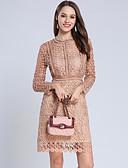 זול תחרה רומטנית-מעל הברך תחרה / חלול חיצוני / קפלים, אחיד / פרחוני / גיאומטרי - שמלה נדן וינטאג' / בסיסי בגדי ריקוד נשים