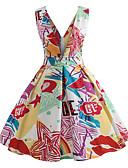 preiswerte Maxi-Kleider-Damen Retro / Grundlegend Swing Kleid - Druck, Geometrisch Knielang