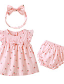 billige Sett med babyklær-Baby Jente Grunnleggende Daglig Frukt Kortermet Normal Polyester Tøysett Rosa