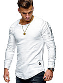 cheap Men's Shirts-Men's Sports Basic / Street chic Cotton T-shirt - Solid Colored / Striped Round Neck / Long Sleeve