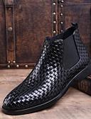 cheap Men's Jackets & Coats-Men's Bootie Cowhide Winter Boots Booties / Ankle Boots Black