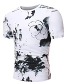 ieftine Maieu & Tricouri Bărbați-Bărbați Rotund Tricou Bumbac De Bază / Chinoiserie - Floral Alb negru / Manșon scurt