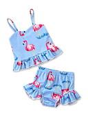 お買い得  女児 スイムウエア-子供 / 幼児 / 新生児 女の子 活発的 お出かけ / ビーチ フラミンゴ プリント プリント ノースリーブ スパンデックス 水着 ライトブルー