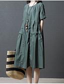 tanie Sukienki-Damskie Wyjściowe Bawełna Luźna Zmiana Sukienka - Solidne kolory Wysoka talia Midi