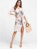 זול שמלות נשים-צווארון V עד הברך דפוס, פרחוני - שמלה צינור כותנה בגדי ריקוד נשים / אביב / דפוסי פרחים