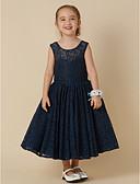 preiswerte Kleider für die Blumenmädchen-Prinzessin Tee-Länge Blumenmädchenkleid - Spitze Ärmellos Schmuck mit Schleife(n) durch LAN TING BRIDE®