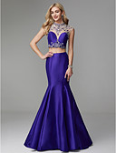 cheap Prom Dresses-Mermaid / Trumpet High Neck Floor Length Satin / Tulle Two Piece Prom / Formal Evening Dress with Beading / Crystals by TS Couture®